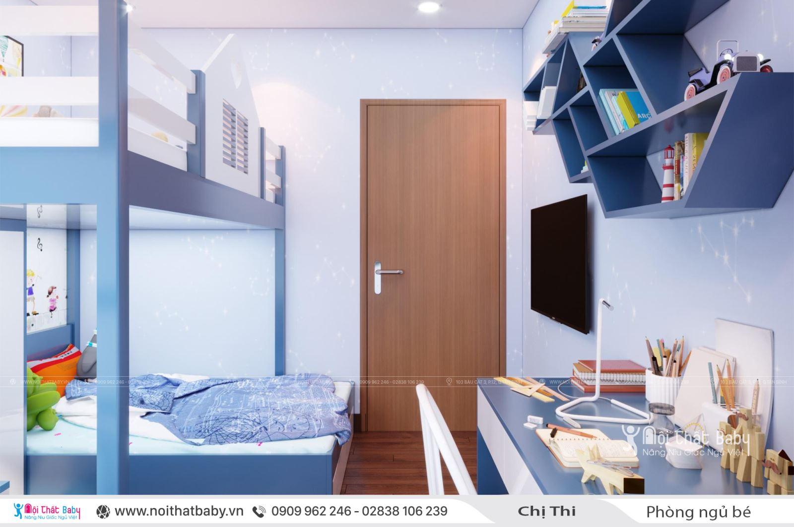Giường tầng màu xanh cho bé trai tại căn Duplex 97m2 Emerald Celadon City