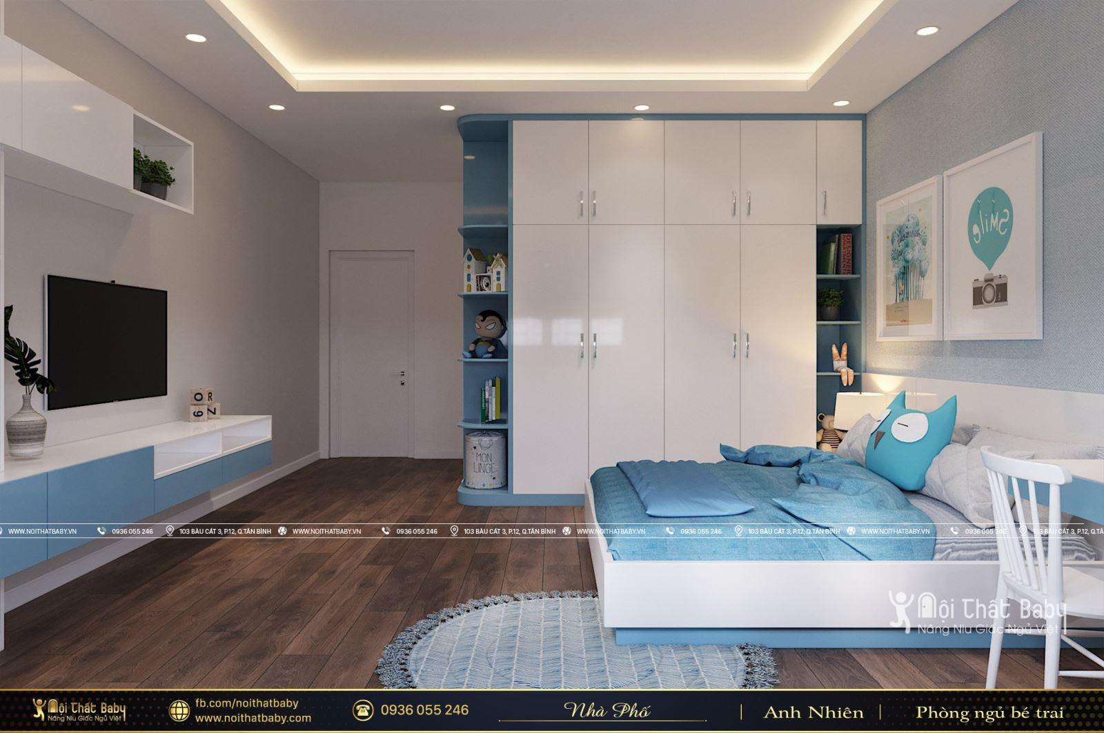 Phòng ngủ bé trai màu xanh tại Khu dân cư Bình Phú