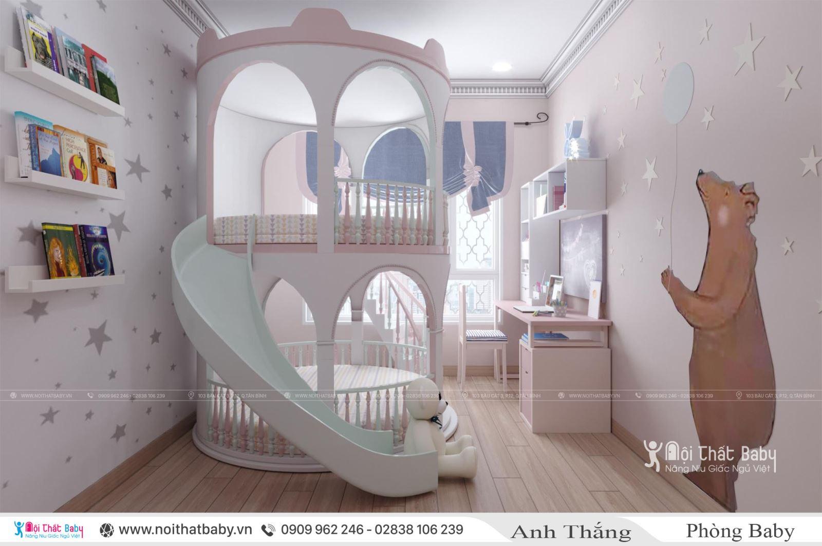 Giường tầng lâu đài cho bé gái tại căn hộ Emerald Celadon City