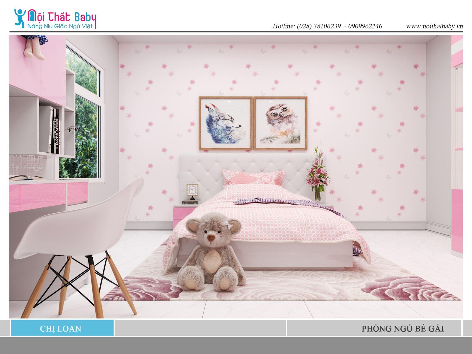 Phòng ngủ màu hồng dễ thương cho bé gái