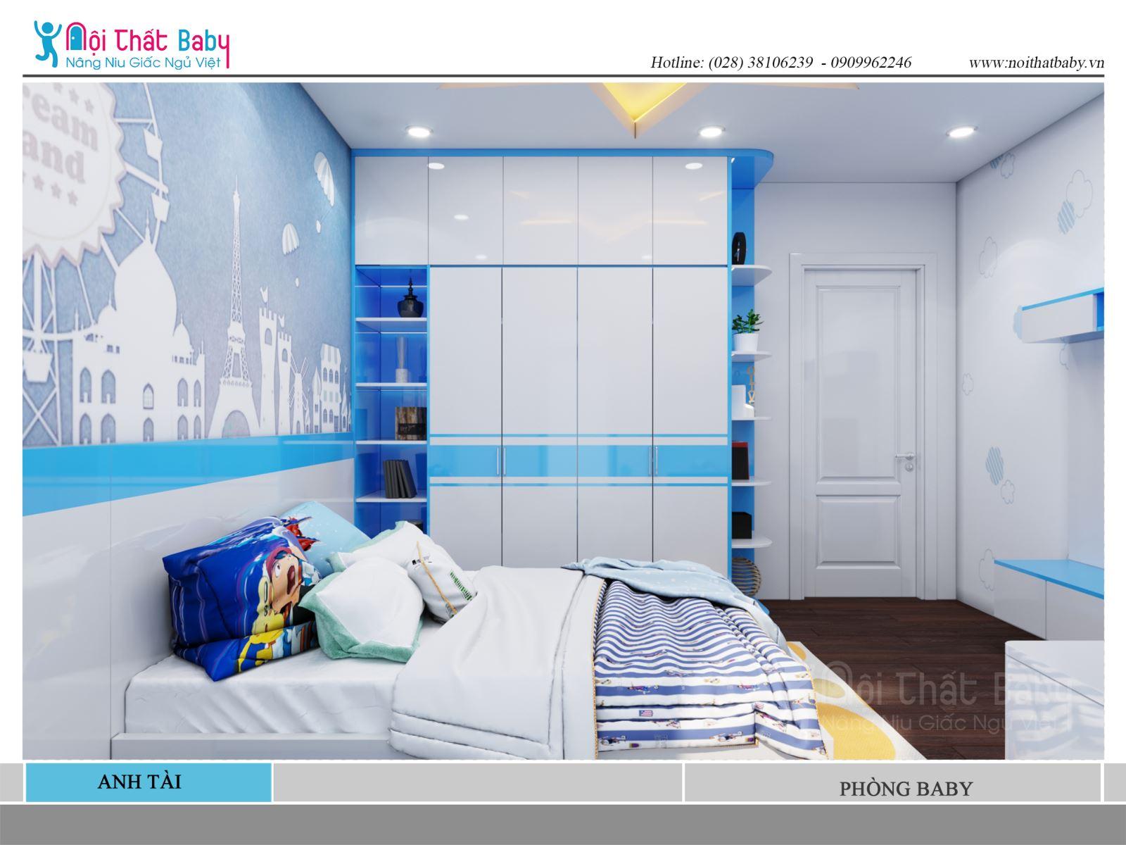 Phòng ngủ bé trai đẹp và dễ thương màu xanh