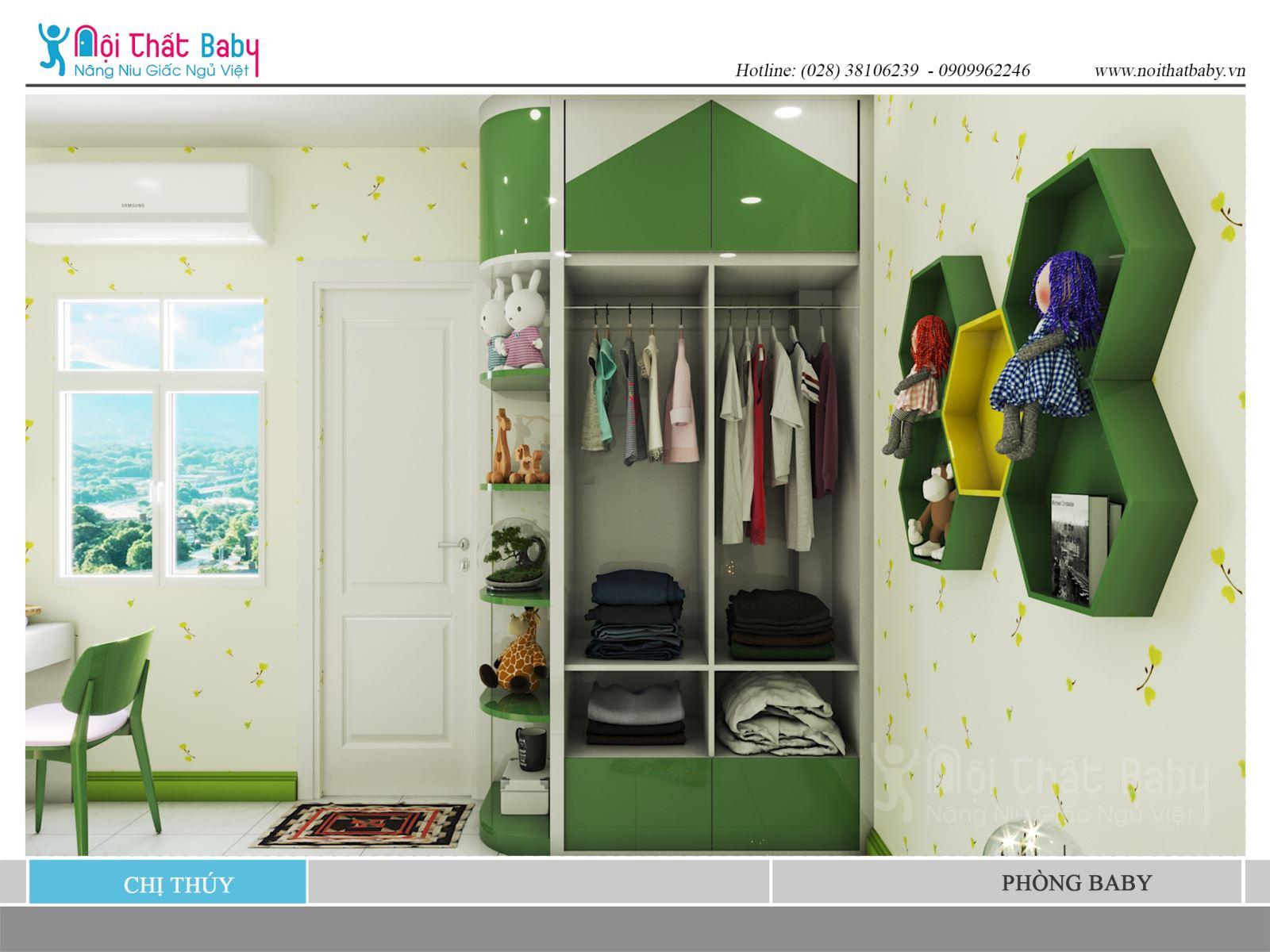 Phòng ngủ xanh lá đẹp cho bé