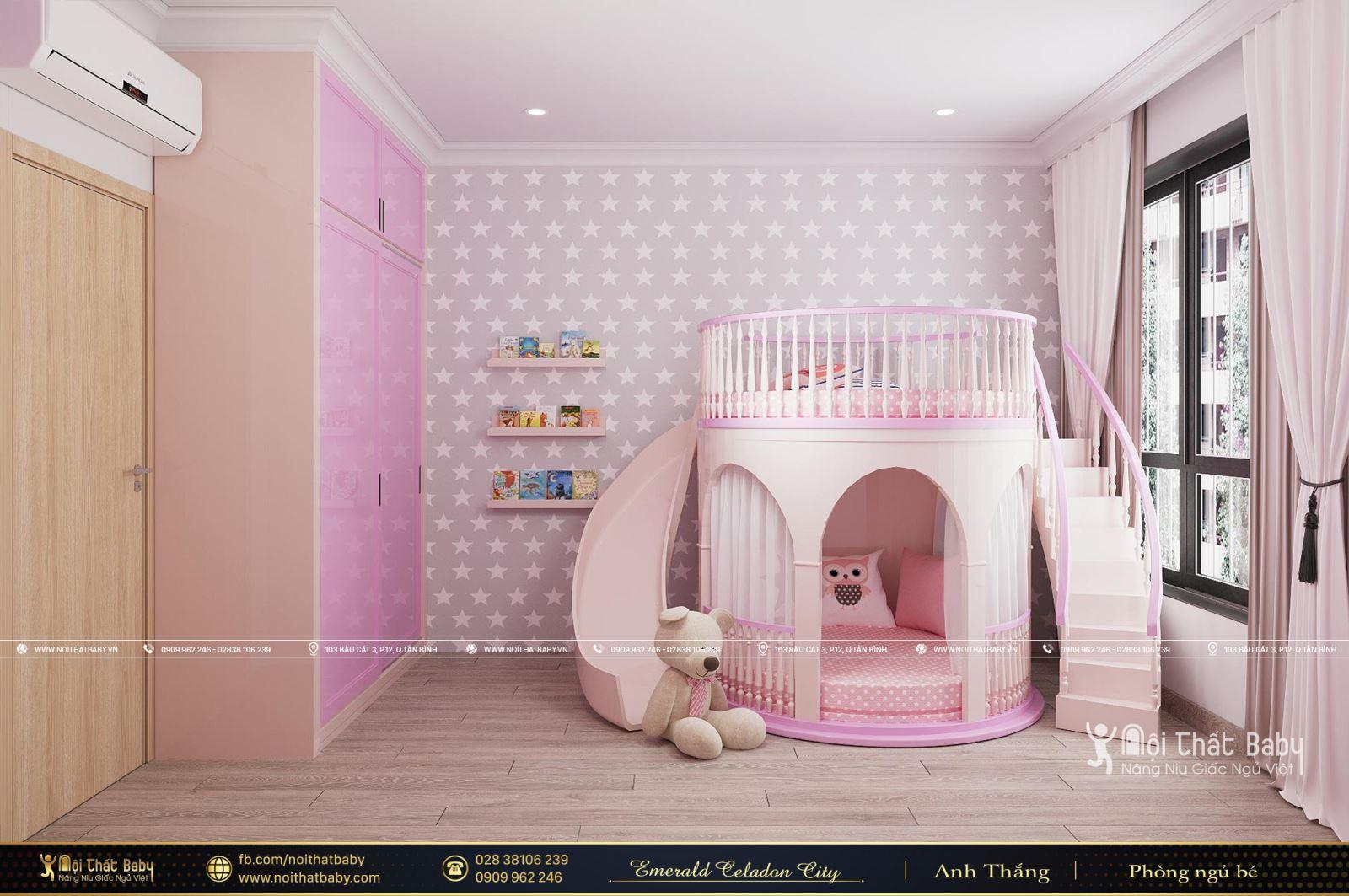 Thiết kế giường tầng lâu đài cho bé căn Emerald Celadon City 106m2