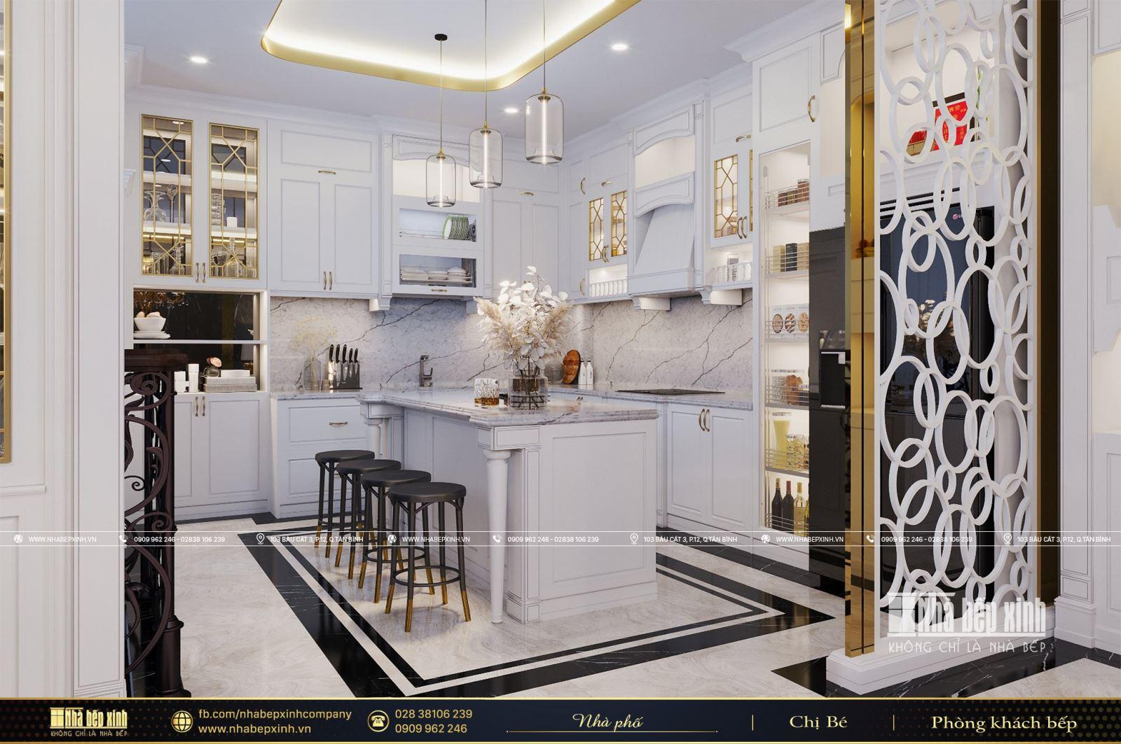 Thiết kế nội thất phòng khách bếp tân cổ điển sang trọng