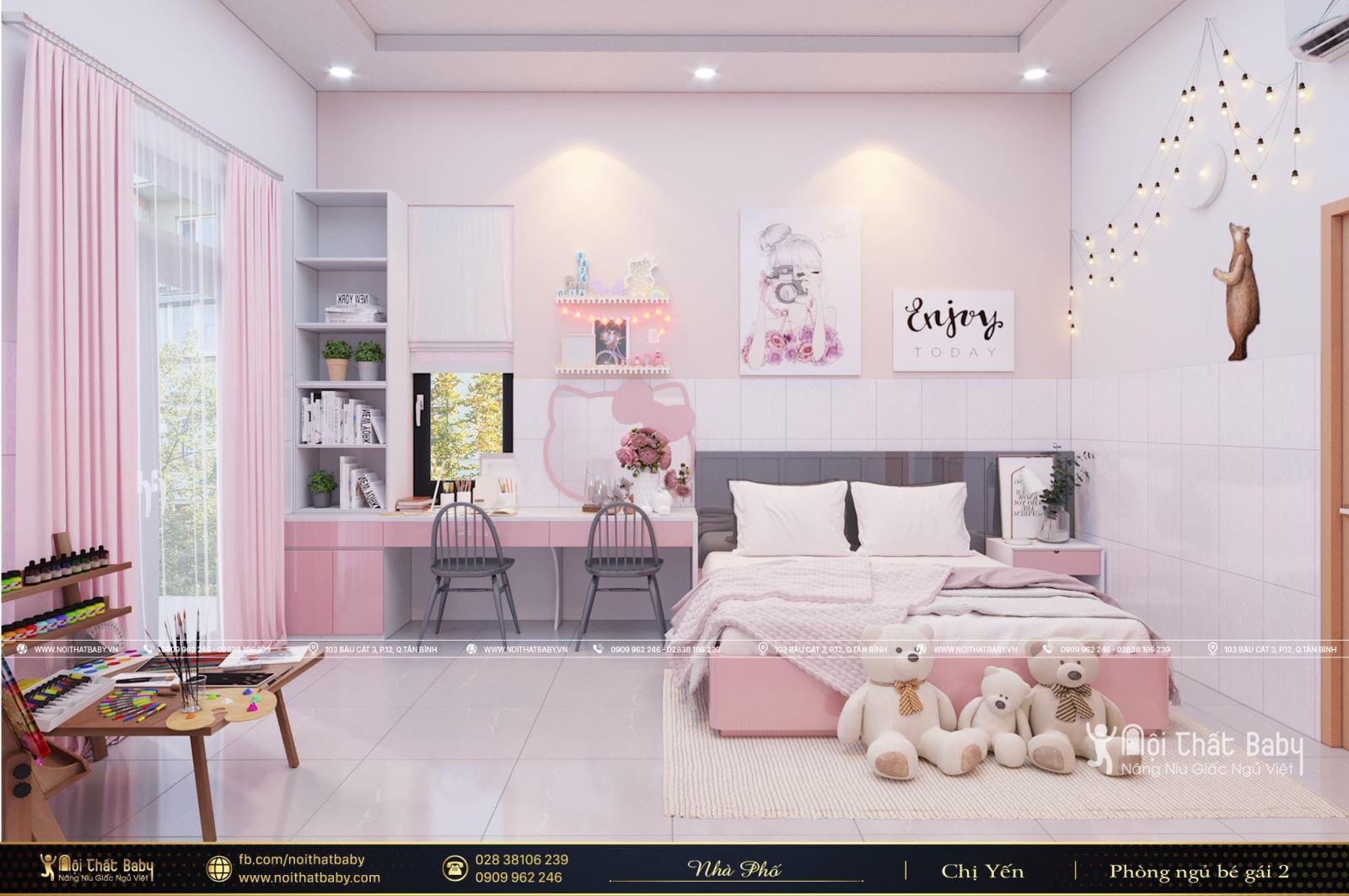 Thiết kế nội thất phòng ngủ bé gái đẹp, hiện đại