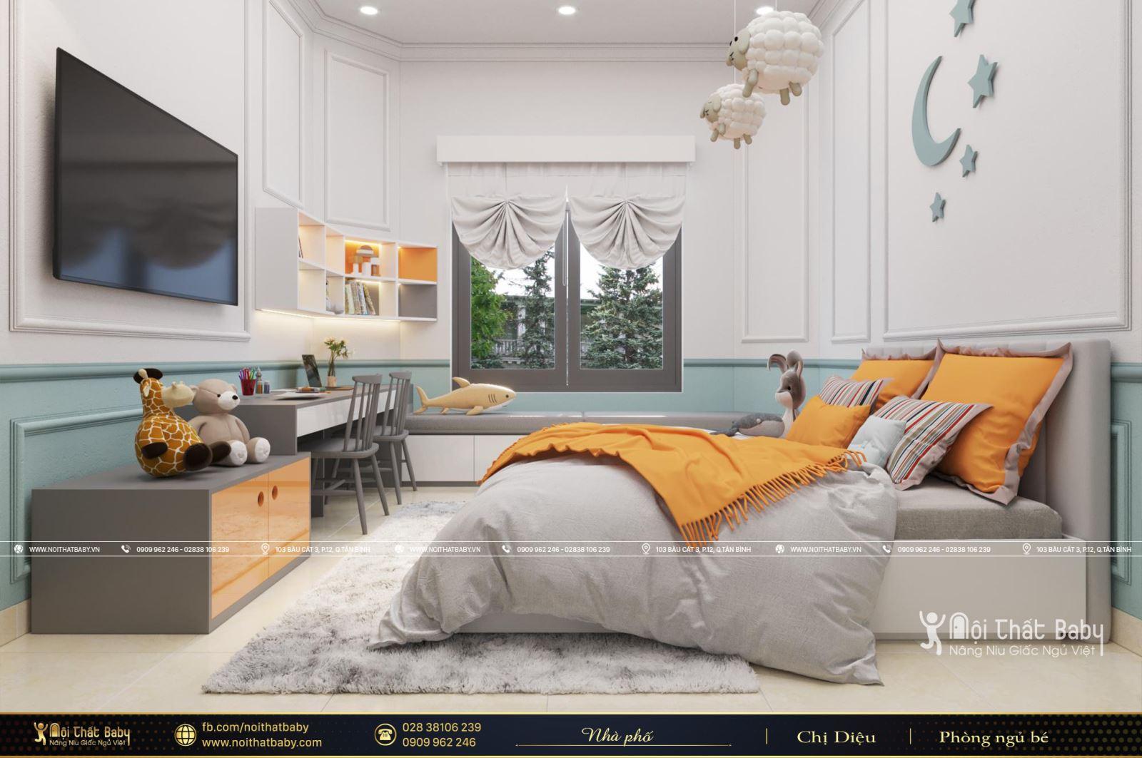 Thiết kế nội thất phòng ngủ bé trai hiện đại tại Vĩnh Long