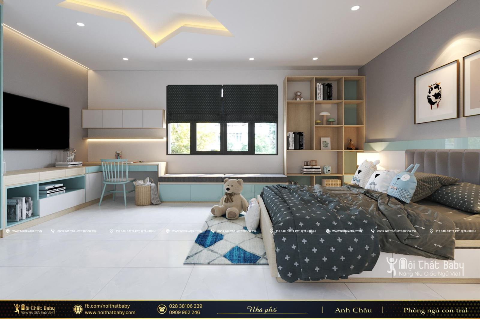 Thiết kế nội thất phòng ngủ bé trai hiện đại