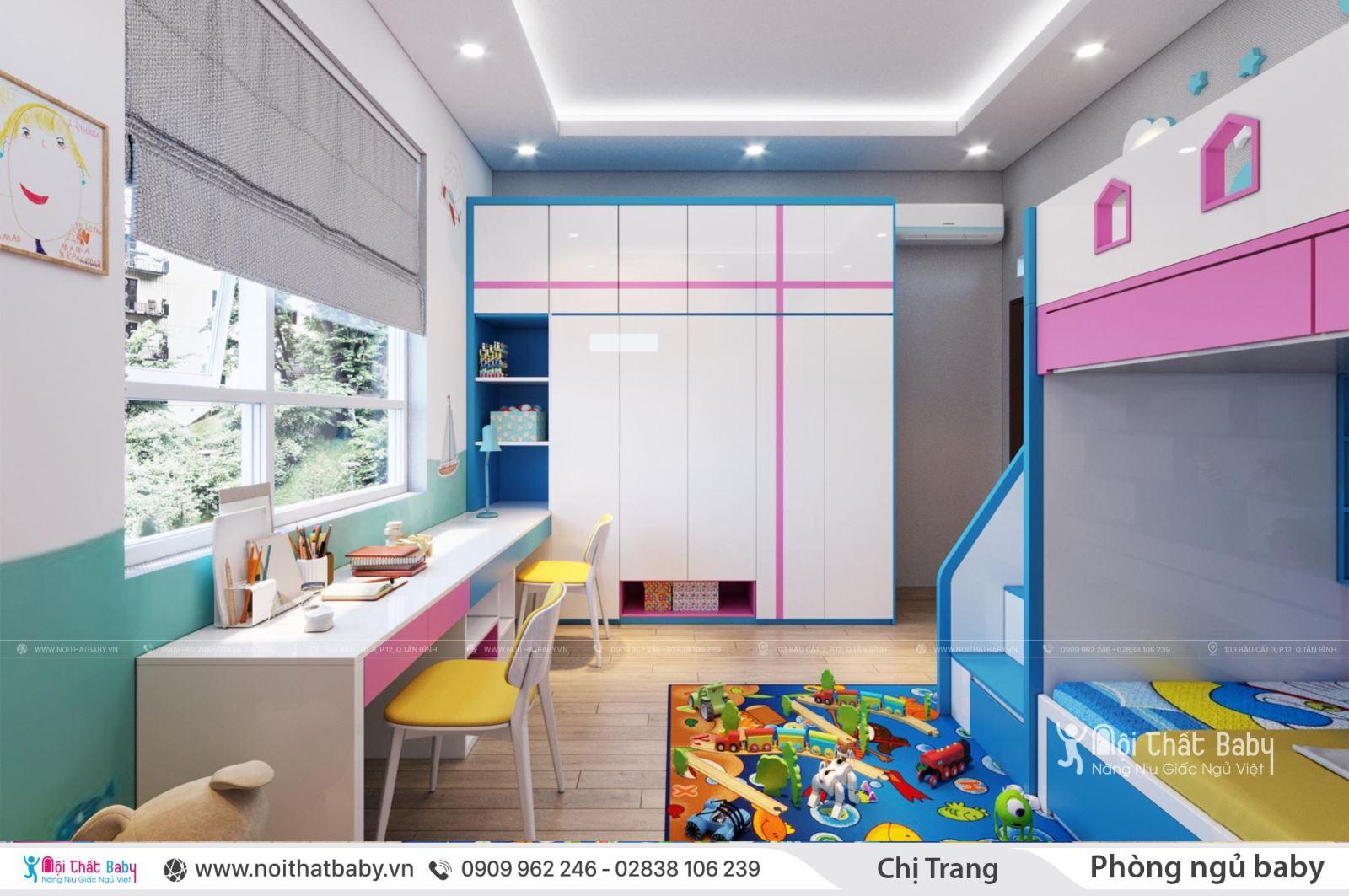 Giường tầng cho bé đa năng