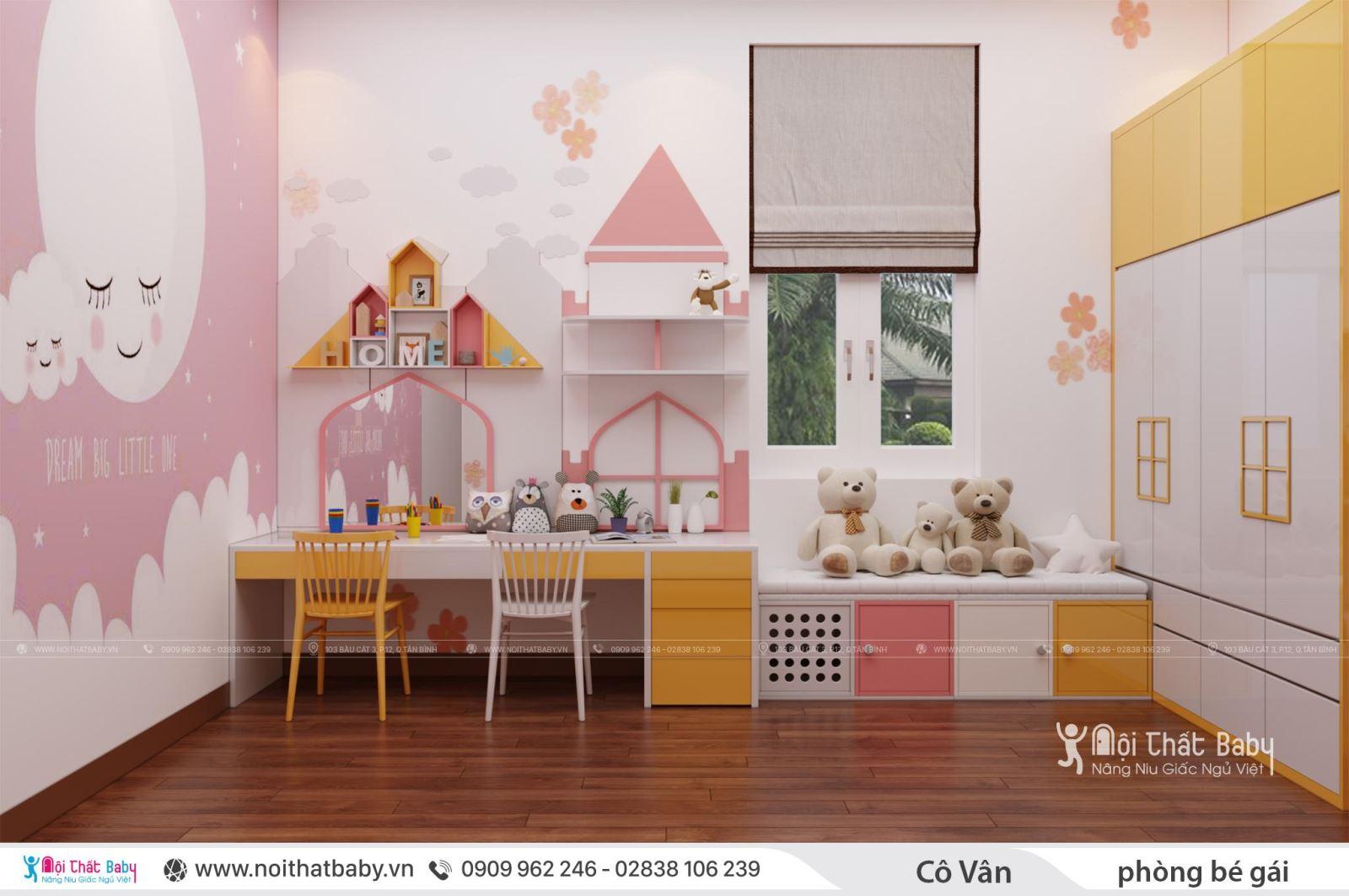Giường tầng hiện đại dành cho bé gái