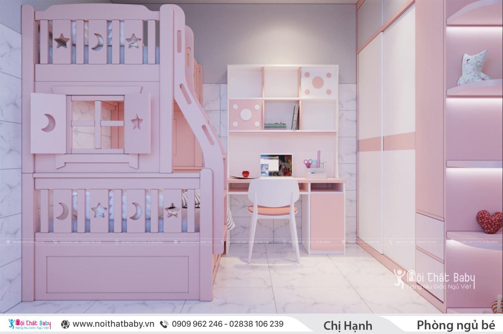 Thiết kế phòng ngủ bé gái hiện đại