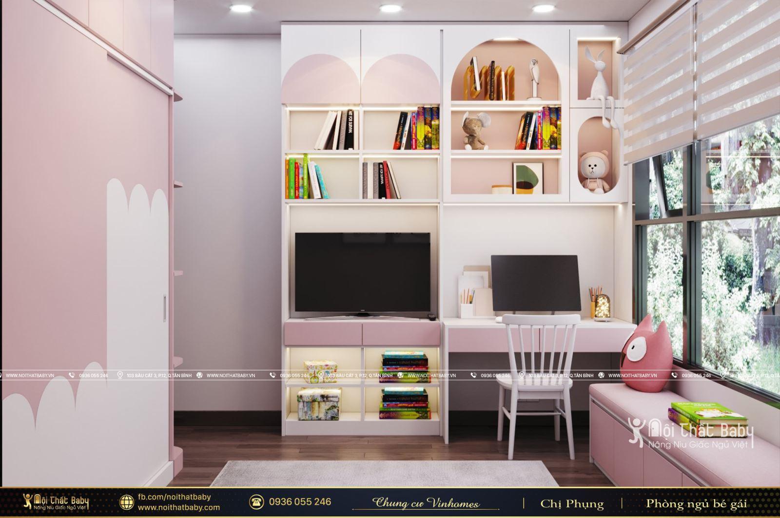 Thiết kế phòng ngủ bé gái màu hồng