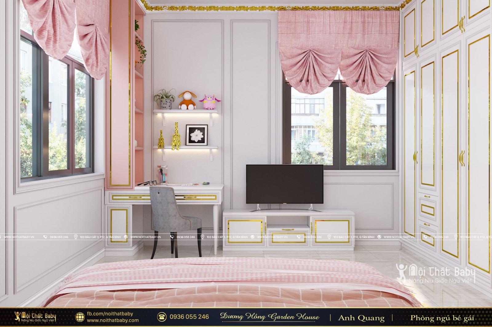 Thiết kế phòng ngủ bé gái màu hồng tại khu dân cư Dương Hồng Garden House