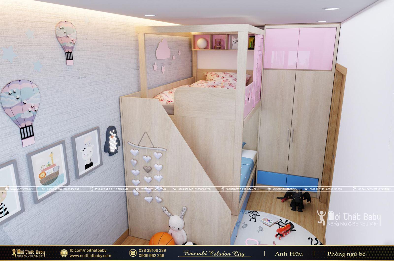 Thiết kế giường tầng cho bé trai và bé gái