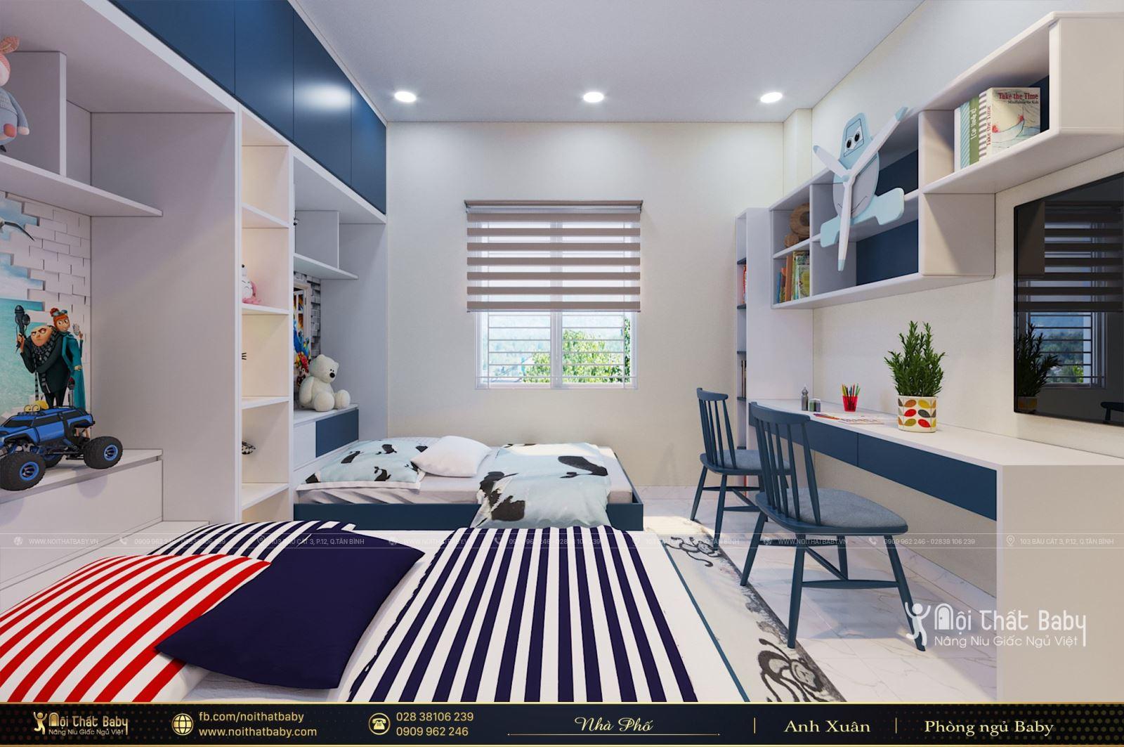 Thiết kế phòng ngủ đôi cho bé trai đa năng tại Quận 5