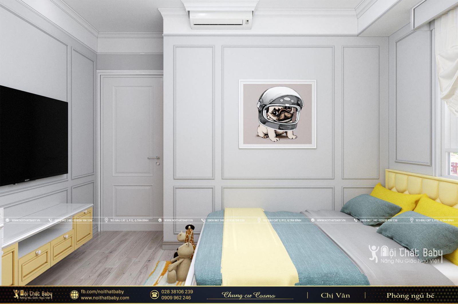 Thiết kế phòng ngủ bé trai dễ thương căn Cosmo City Quận 7 129m2
