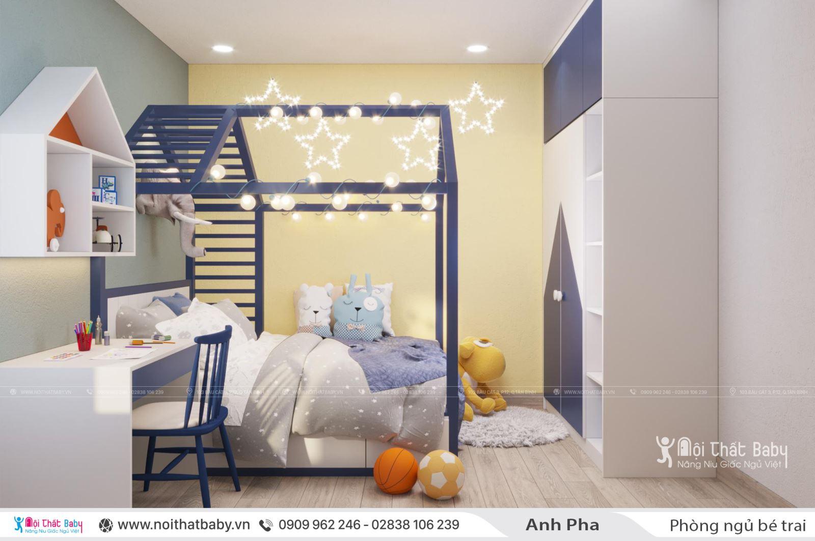Thiết kế phòng ngủ bé trai hiện đại căn Emerald Celadon City 71m2
