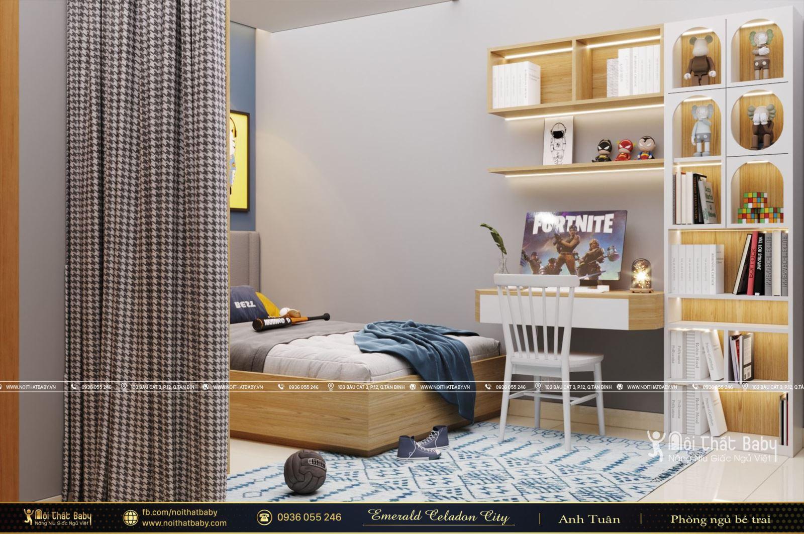 Thiết kế phòng ngủ bé trai hiện đại tại Emerald Celadon City