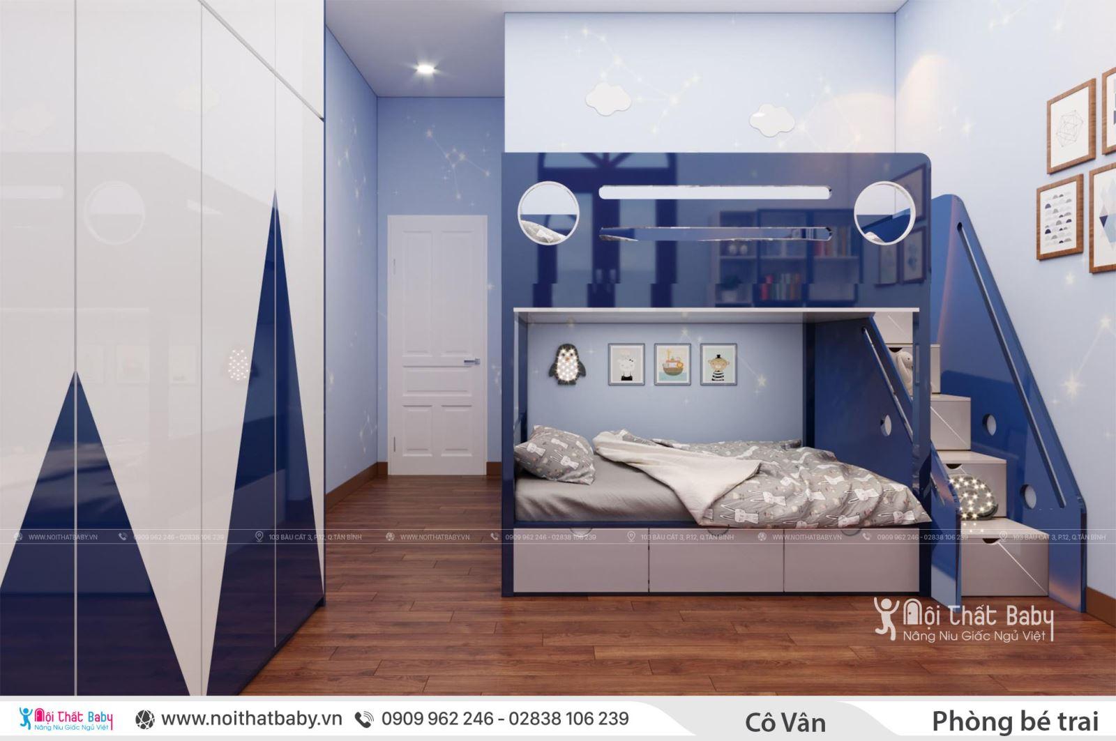 Thiết kế phòng ngủ bé trai màu xanh - Giường tầng gỗ cho bé