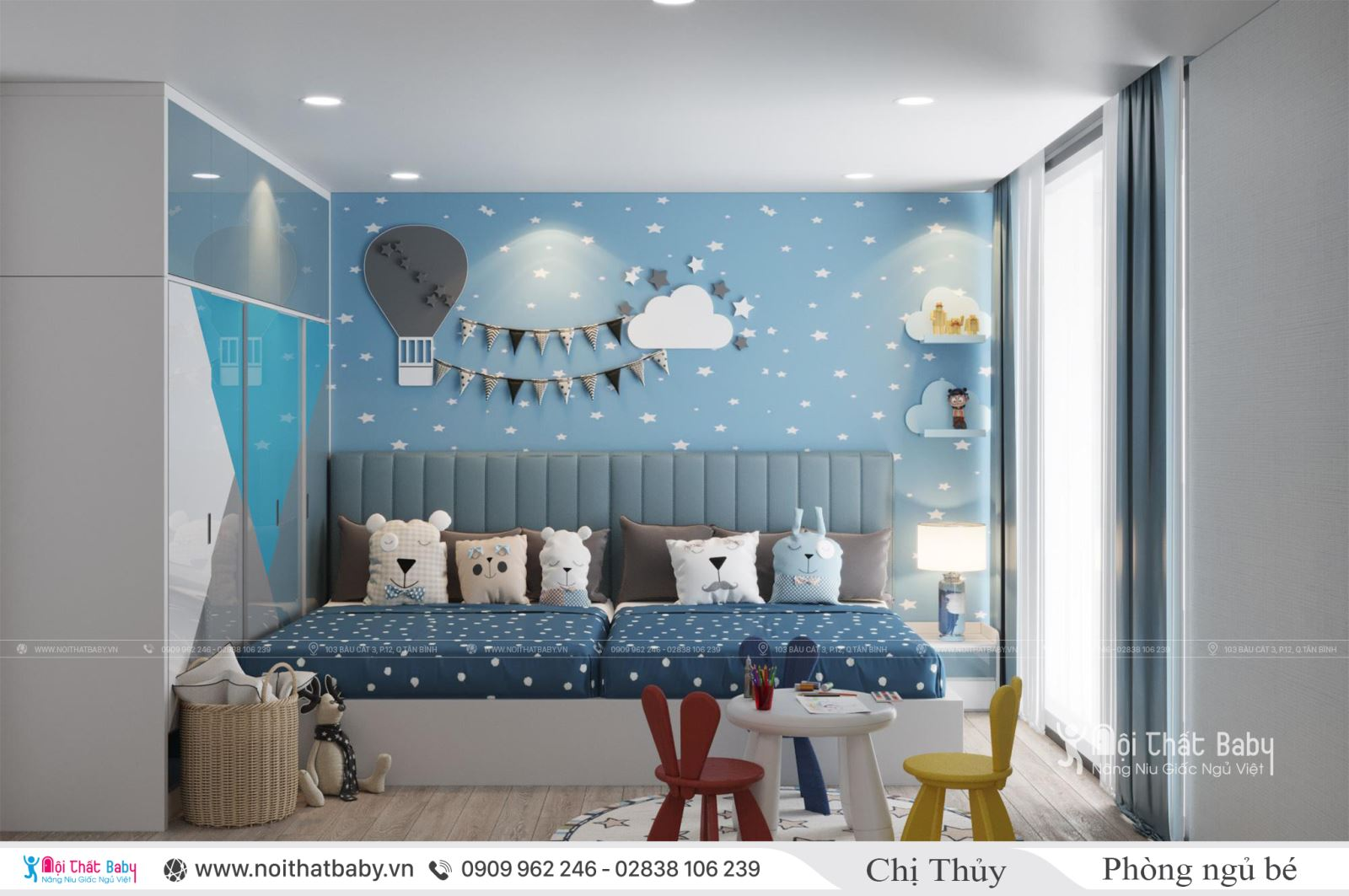 Thiết kế phòng ngủ đôi cho bé trai