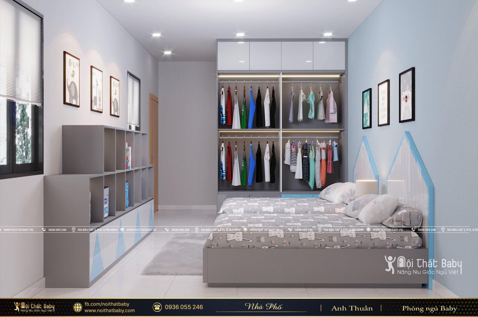 Thiết kế phòng ngủ đôi cho bé trai tại Hậu Giang