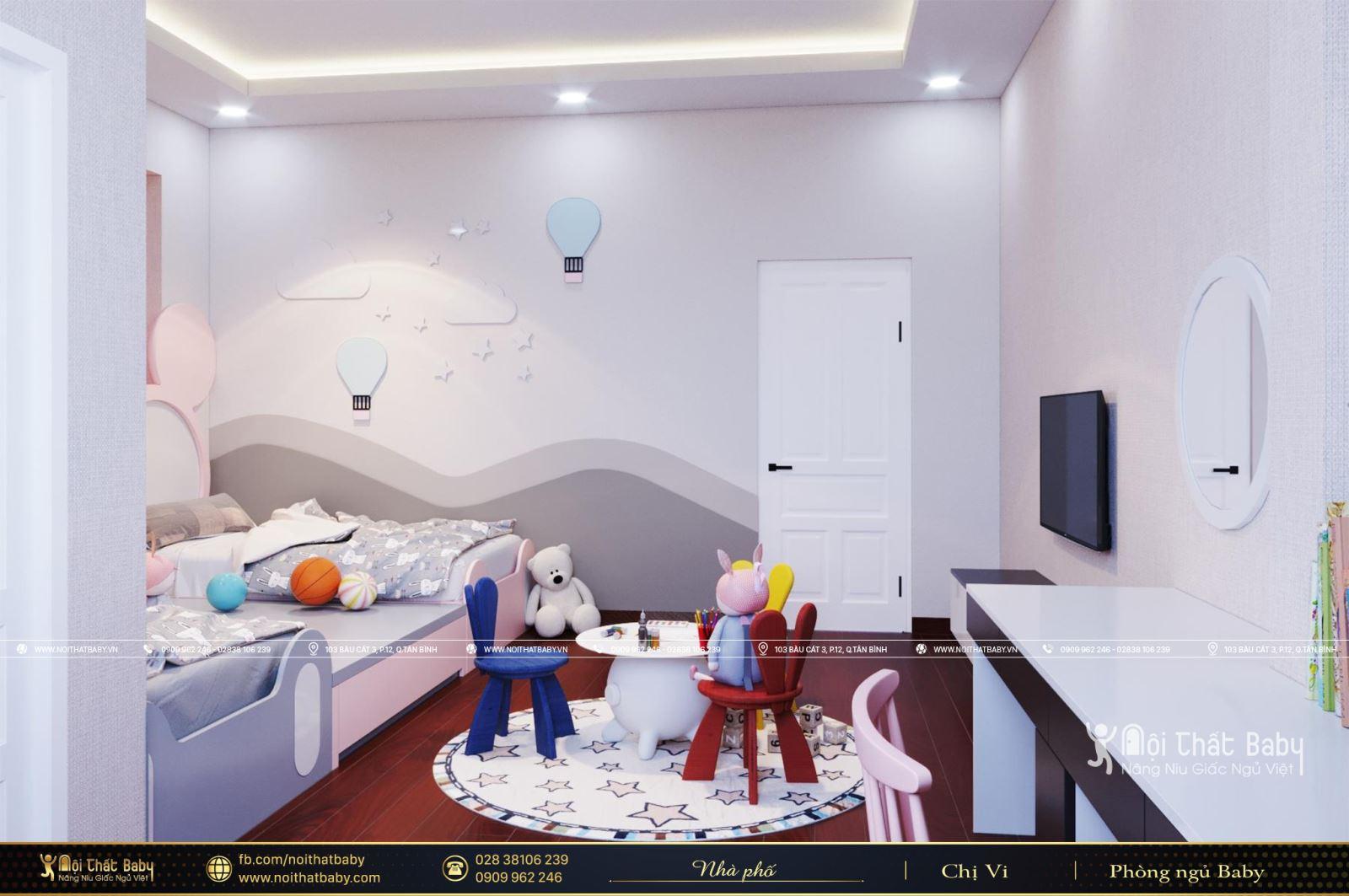 Thiết kế phòng ngủ đôi cho hai bé gái