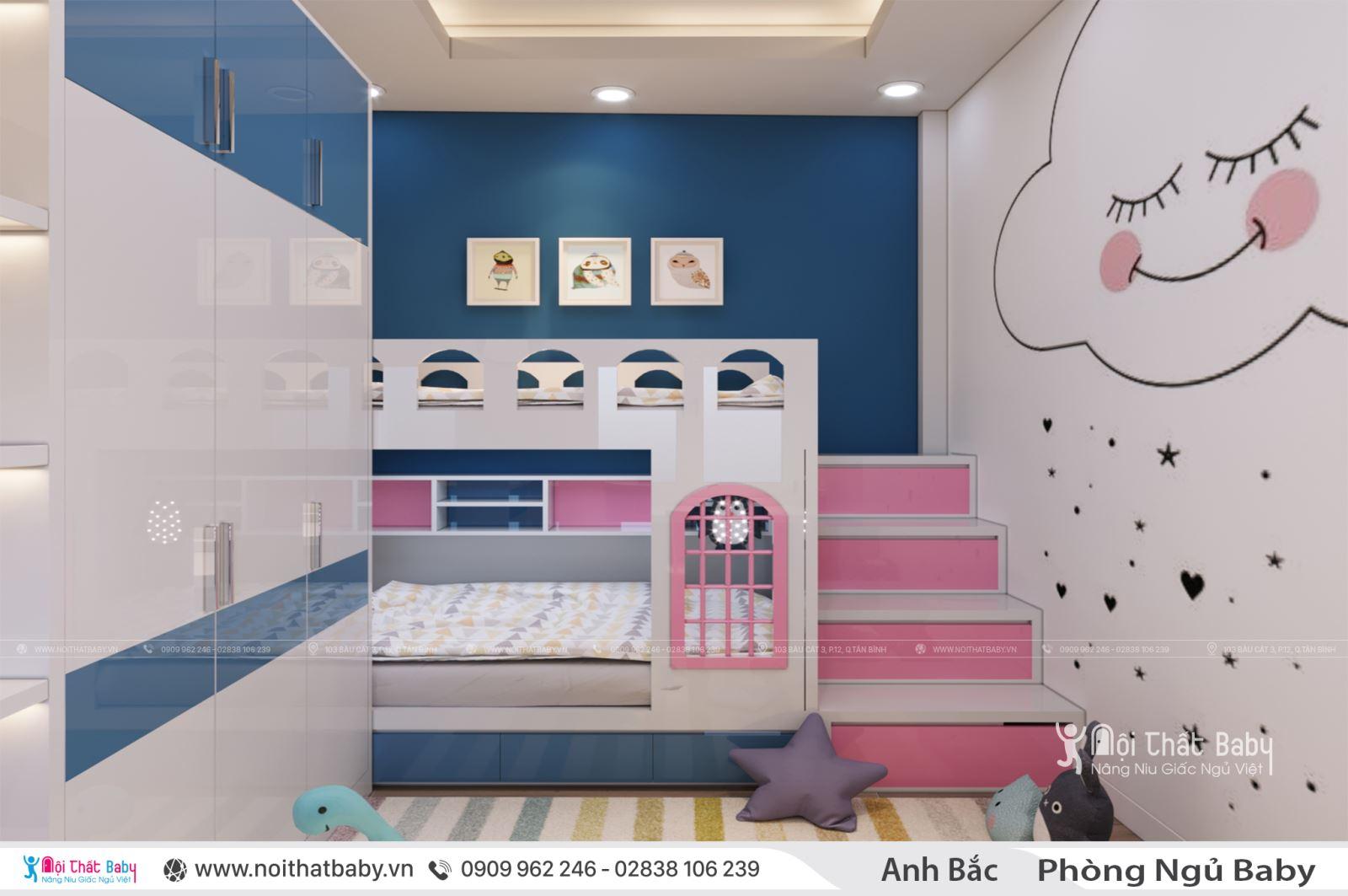 Những mẫu giường ngủ trẻ em màu hồng dễ thương