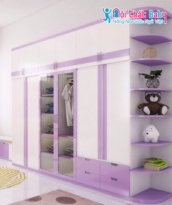 Tủ áo màu tím dễ thương cho bé