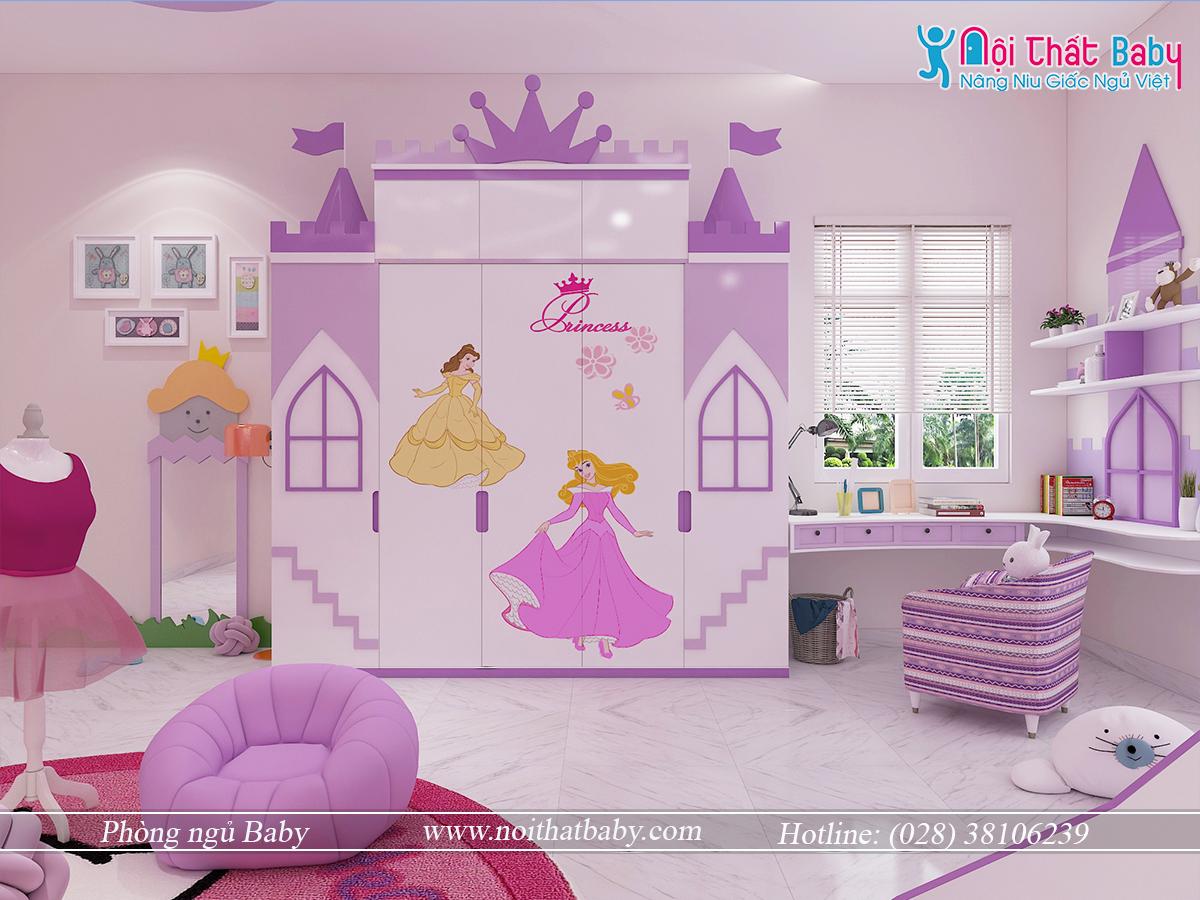 Tủ áo trẻ em công chúa