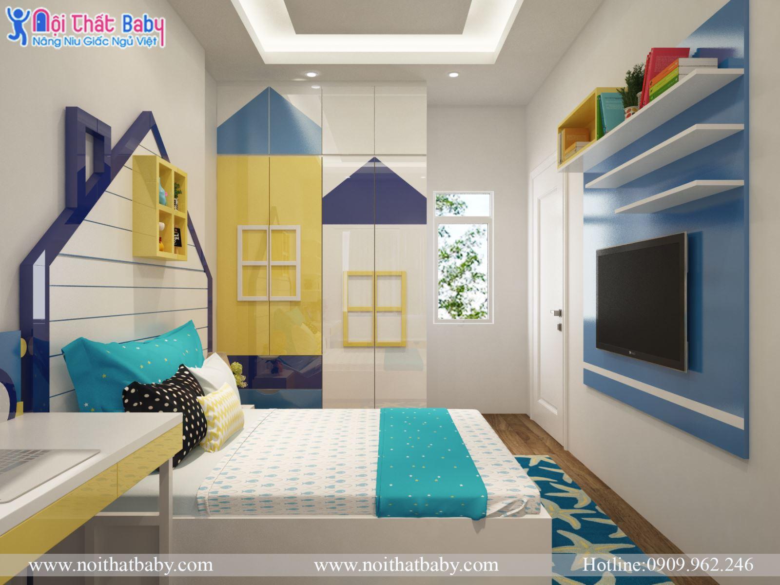 Tủ áo trẻ em hình ngôi nhà
