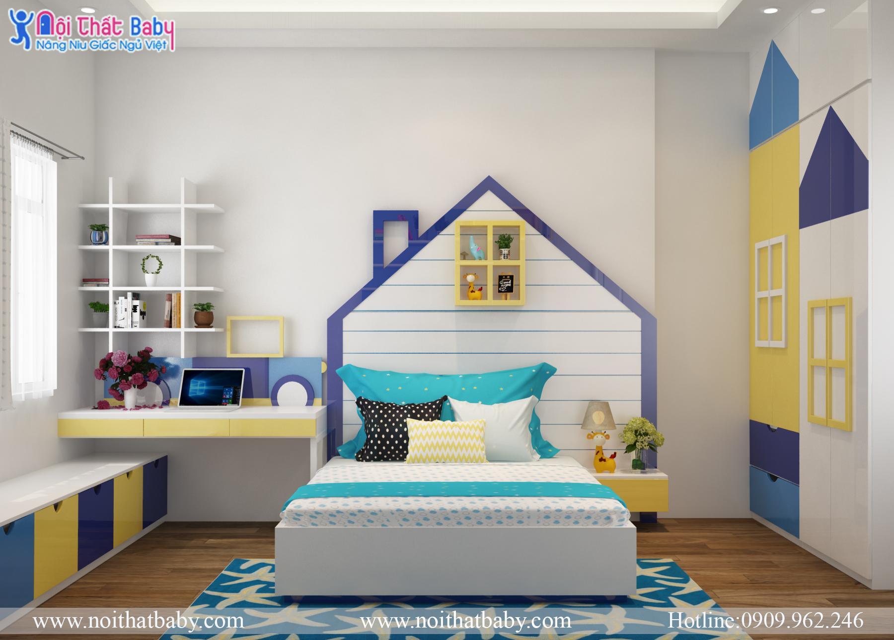 Phòng Ngủ Trẻ Em Màu Vàng Xanh Hiện đại